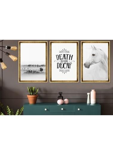 Çerçeve Home  Death  Before Decaf Gold Çerçeve Tablo Seti Altın